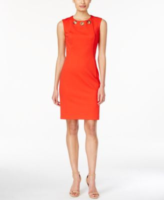 Calvin Klein Embellished Scuba Sheath Dress