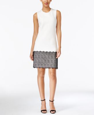 Calvin Klein Petite Lace-Hem Shift Dress