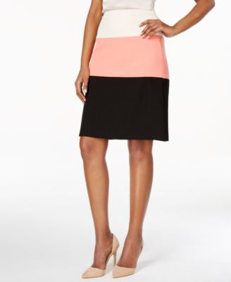 Kasper Colorblocked A-Line Skirt