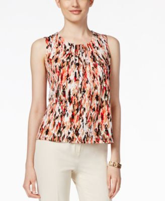 Kasper Petite Printed Pleat-Neck Sleeveless Top