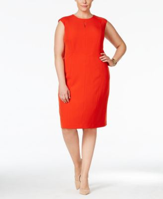Kasper Plus Size Crepe Sheath Dress