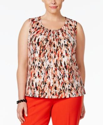 Kasper Plus Size Printed Pleat-Neck Top
