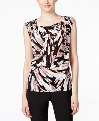Kasper Printed Drape-Neck Top