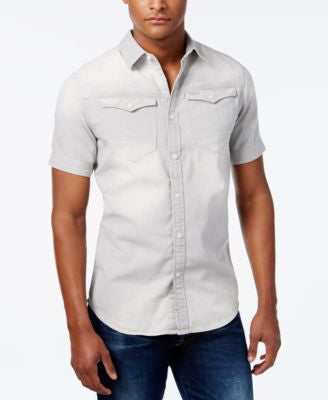 GStar Men's Dual-Pocket Denim Short-Sleeve Shirt