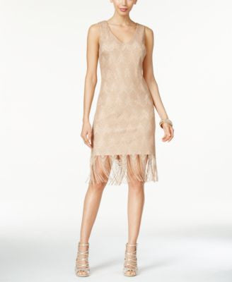 Thalia Sodi Crochet Fringe-Hem Sheath Dress, Only at Vogily