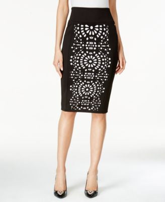 Thalia Sodi Laser-Cutout Scuba Pencil Skirt, Only at Vogily