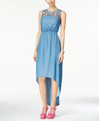 Thalia Sodi Chambray Lattice High-Low Maxi Dress, Only at Vogily