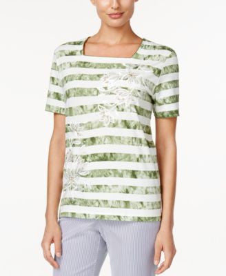 Alfred Dunner Petite Striped Short-Sleeve Top