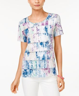Alfred Dunner Petite St. Augustine Printed Tiered Top
