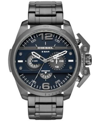 Diesel Men's Chronograph Ironside Gunmetal Ion-Plated Stainless Steel Bracelet Watch 55x48mm DZ4398