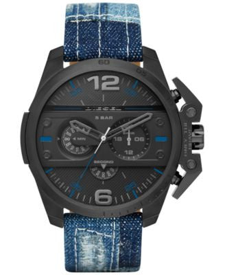 Diesel Men's Chronograph Ironside Patched Blue Denim Strap Watch 55x48mm DZ4397