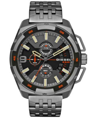 Diesel Men's Chronograph Heavyweight Gunmetal Ion-Plated Stainless Steel Bracelet Watch 50x56mm DZ43