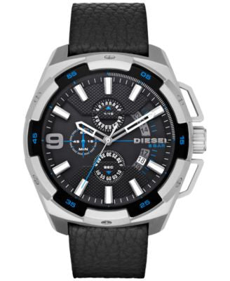 Diesel Men's Chronograph Heavyweight Black Leather Strap Watch 50x56mm DZ4392