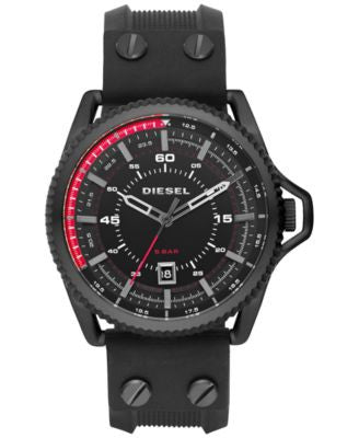 Diesel Men's Rollcage Black Silicone Strap Watch 45x50mm DZ1760