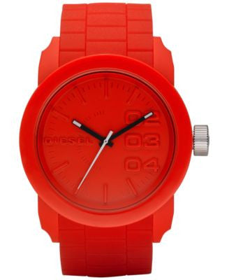 Diesel Men's Double Down Red Silicone Strap Watch 44mm DZ1440