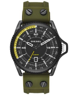 Diesel Men's Rollcage Green Silicone Strap Watch 45x50mm DZ1758