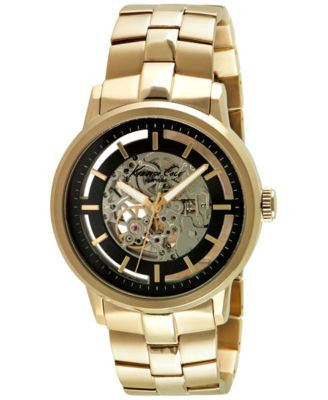 Kenneth Cole New York Men's Automatic Gold-Tone Ion-Plated Stainless Steel Bracelet Watch 46mm 10026