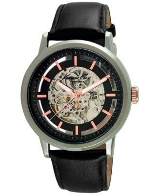 Kenneth Cole New York Men's Automatic Black Leather Strap Watch 46mm 10026782