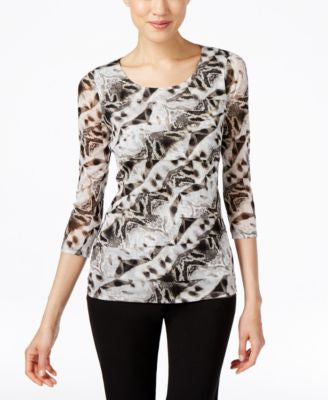 Alfani Printed Tiered Top, Only at Vogily