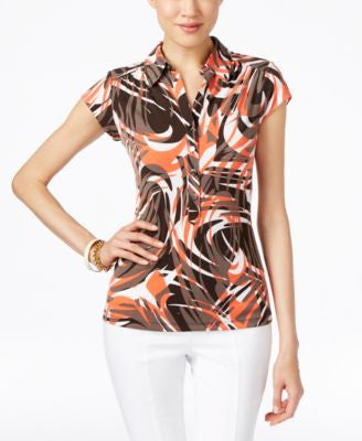 Alfani Petite Printed Cap-Sleeve Polo Shirt, Only at Vogily