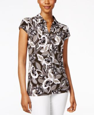 Alfani Printed Cap-Sleeve Polo Top, Only at Vogily