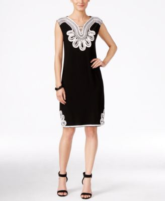 Alfani Petite Sleeveless Embroidered Shift Dress, Only at Vogily