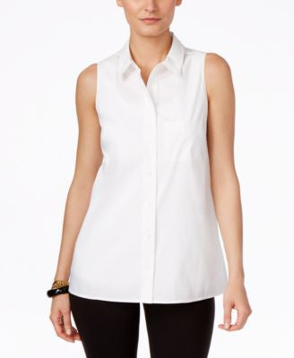 Alfani Sleeveless Button-Front Blouse, Only at Vogily