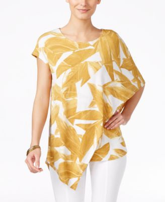 Alfani Petite Printed Asymmetrical Overlay Top, Only at Vogily