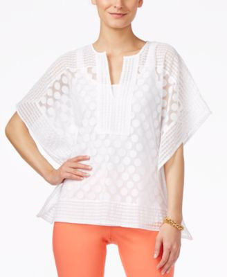 Alfani Petite Dot-Lace Poncho Top, Only at Vogily