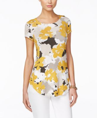Alfani Petite Floral-Print Short-Sleeve Top, Only at Vogily