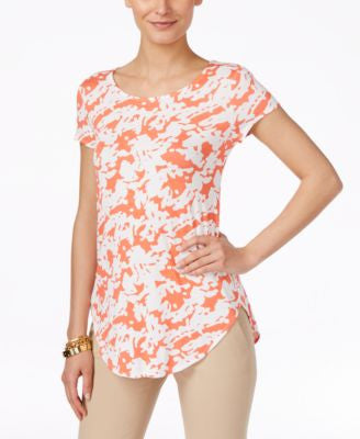 Alfani Petite Printed Short-Sleeve Top, Only at Vogily