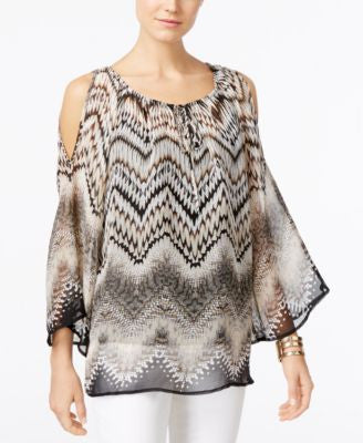 Alfani Printed Cold-Shoulder Peasant Blouse, Only at Vogily