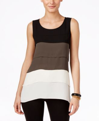Alfani Petite Tiered Colorblocked Top, Only at Vogily