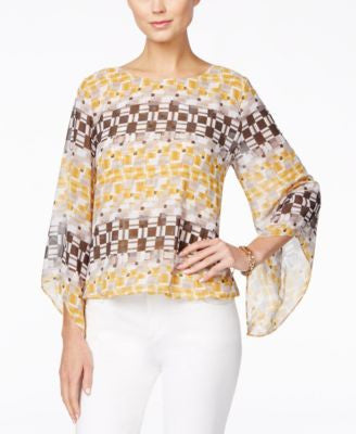 Alfani Petite Printed Angel-Sleeve Blouson Top, Only at Vogily