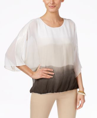 Alfani Petite Ombre Angel-Sleeve Blouson Top, Only at Vogily