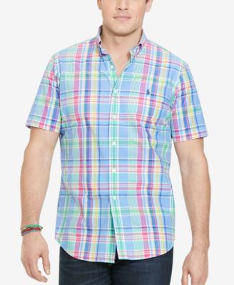 Polo Ralph Lauren Big and Tall Short-Sleeve Checked Poplin Shirt