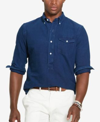 Polo Ralph Lauren Men's Indigo Oxford Popover