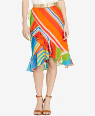 Lauren Ralph Lauren Striped Ruffle Georgette Skirt