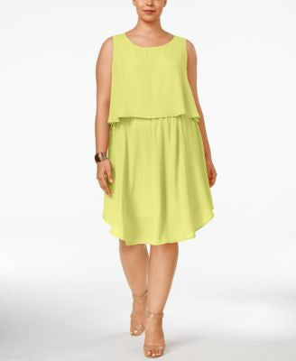 NY Collection Plus Size Sleeveless Popover Dress