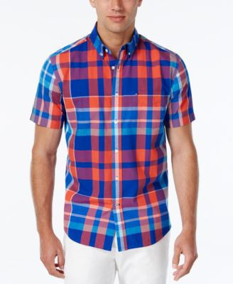 Tommy Hilfiger Men's Plaid Button-Down Short-Sleeve Shirt