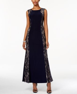 R & M Richards Petite Sequined Lace Panel Gown
