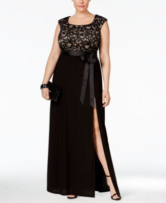 R & M Richards Plus Size Cap-Sleeve Lace Bodice Gown