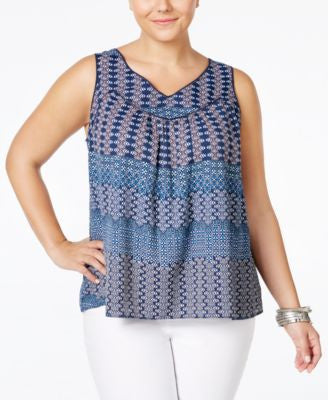 Jessica Simpson Plus Size Shelby Printed Crochet-Striped Tank Top