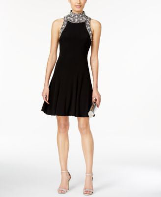 Betsy & Adam Beaded A-Line Dress