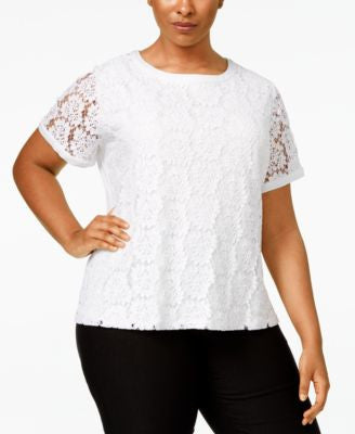 Calvin Klein Plus Size Short Sleeve Lace-Front Top