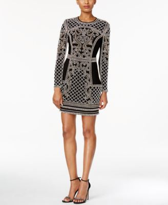 Xscape Embellished Long-Sleeve Bodycon Dress