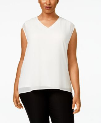 Calvin Klein Plus Size Chiffon-Layered Blouse