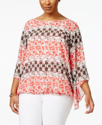 Alfani Plus Size Printed Angel-Sleeve Top, Only at Vogily