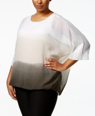 Alfani Plus Size Ombré Sequined Top, Only at Vogily
