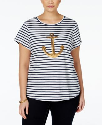 Charter Club Plus Size Striped Anchor-Print T-Shirt, Only at Vogily